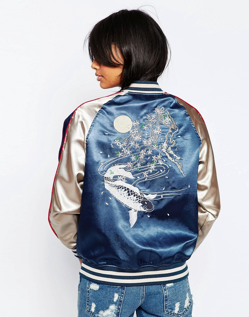 Image 2 of ASOS Premium Embroidered Bomber Jacket with Tipped Rib