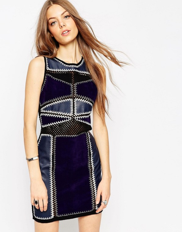 Image 1 of ASOS Bodycon Dress in Patchwork PU/Suedette and Crochet