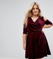 Pink Clove Pink Clove Cold Shoulder Wrap Mini Dress - Red 2018