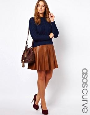 Image 1 ofASOS CURVE Skater Skirt In Leather
