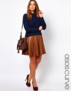 Image 1 of ASOS CURVE Skater Skirt In Leather