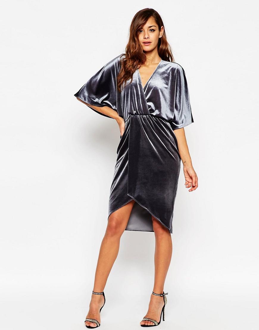 Image 1 ofASOS Velvet Midi Kimono Dress