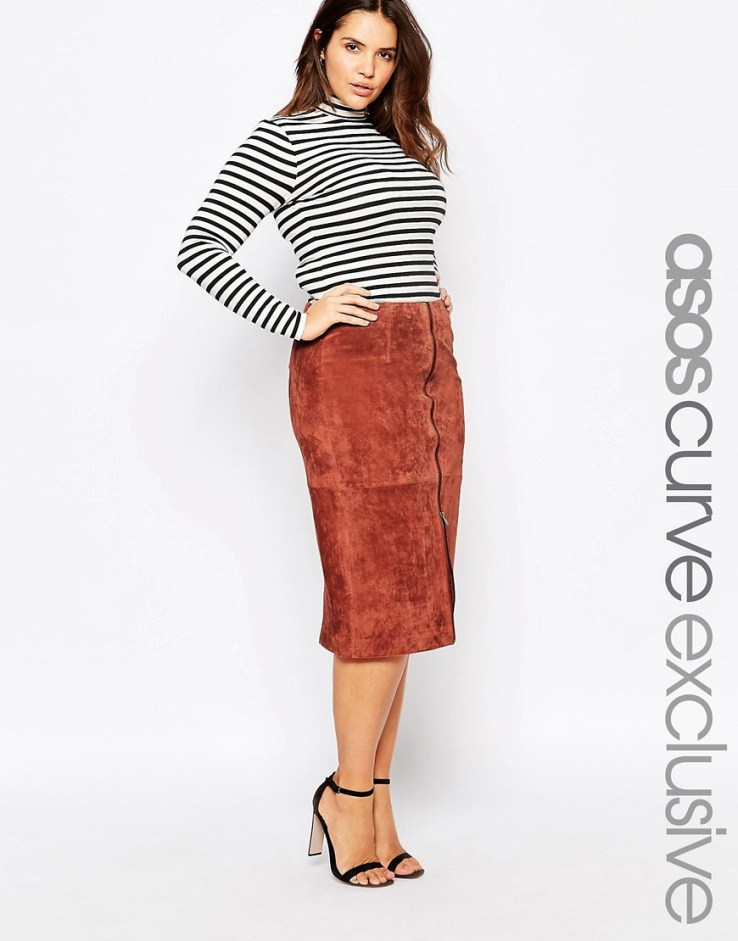 ASOS CURVE 70s Pencil Skirt In Suede
