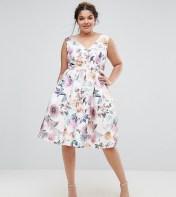 Chi Chi London Plus Chi Chi London Plus V Neck Rose Print Midi Dress - Multi 2018