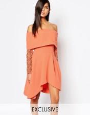 8th Sign The 8th Sign Off Shoulder Skater Dress With Lace Sleeve - Orange 2018