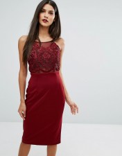 Forever Unique Forever Unique Laced Top Midi Bodycon Dress - Red 2018