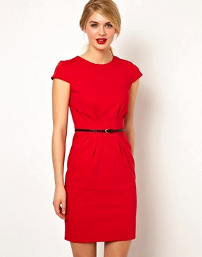 Image 1 of Mango Pleat Waist Tailored Dress