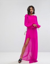 Mango Mango Silk Chiffon Maxi Dress in Bright Pink - Pink 2018