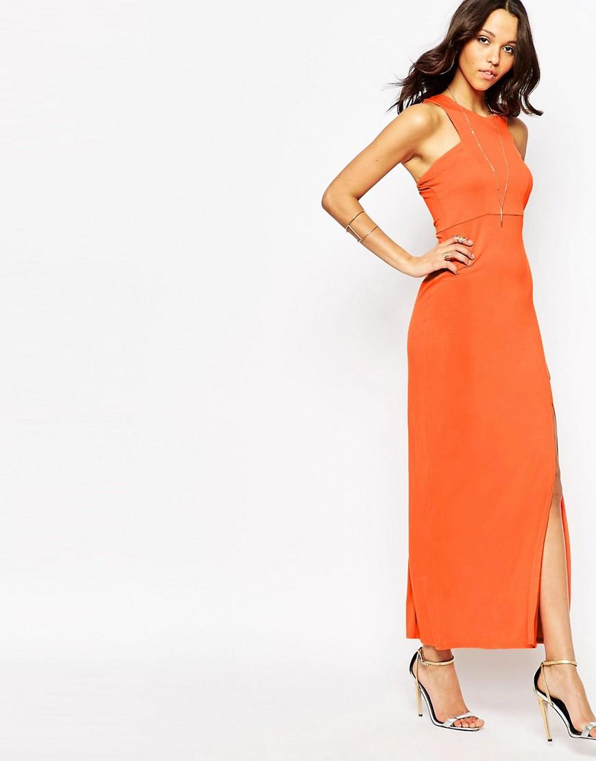 Imagen 1 de Vestido largo con abertura lateral de Boohoo