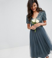 Maya Maya Cap Sleeve Midi Dress In Tonal Delicate Sequin With Tulle Skirt - Blue 2018