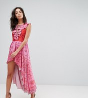 White Cove Tall White Cove Tall High Low Lace Up Maxi Dress With Tassel Detail - Pink 2018