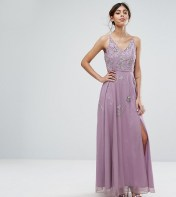 Frock and Frill Frock and Frill Cami Maxi Dress with Star Embellishment and Split - Grey 2018