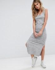 PIMKIE Pimkie Split Side Ribbed Jersey Midi Dress - Grey 2018