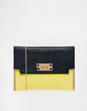 Image 1 ofNew Look Macy Clutch Bag in Colour Block