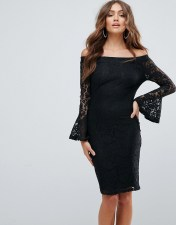 Girl In Mind Girl In Mind Bardot Frill Sleeve Lace Dress - Black 2018