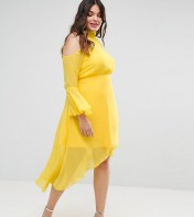 Truly You Truly You Cold Shoulder Midi Dress With Fluted Sleeve - Yellow 2018