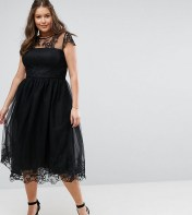 Chi Chi London Plus Chi Chi London Plus Premium Lace Midi Prom Dress with Lace Neck - Black 2018
