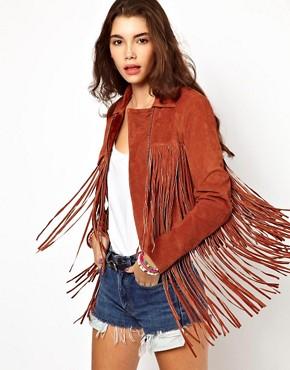 Image 1 ofASOS Fringed Suede Leather Jacket