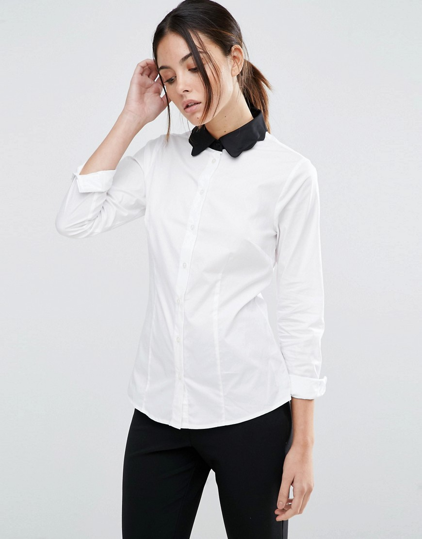 ASOS Contrast Collar Scallop Shirt