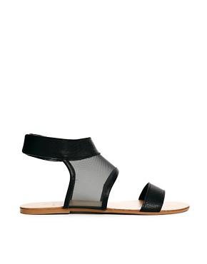 Pieces Cath Black Mesh Insert Flat Sandals