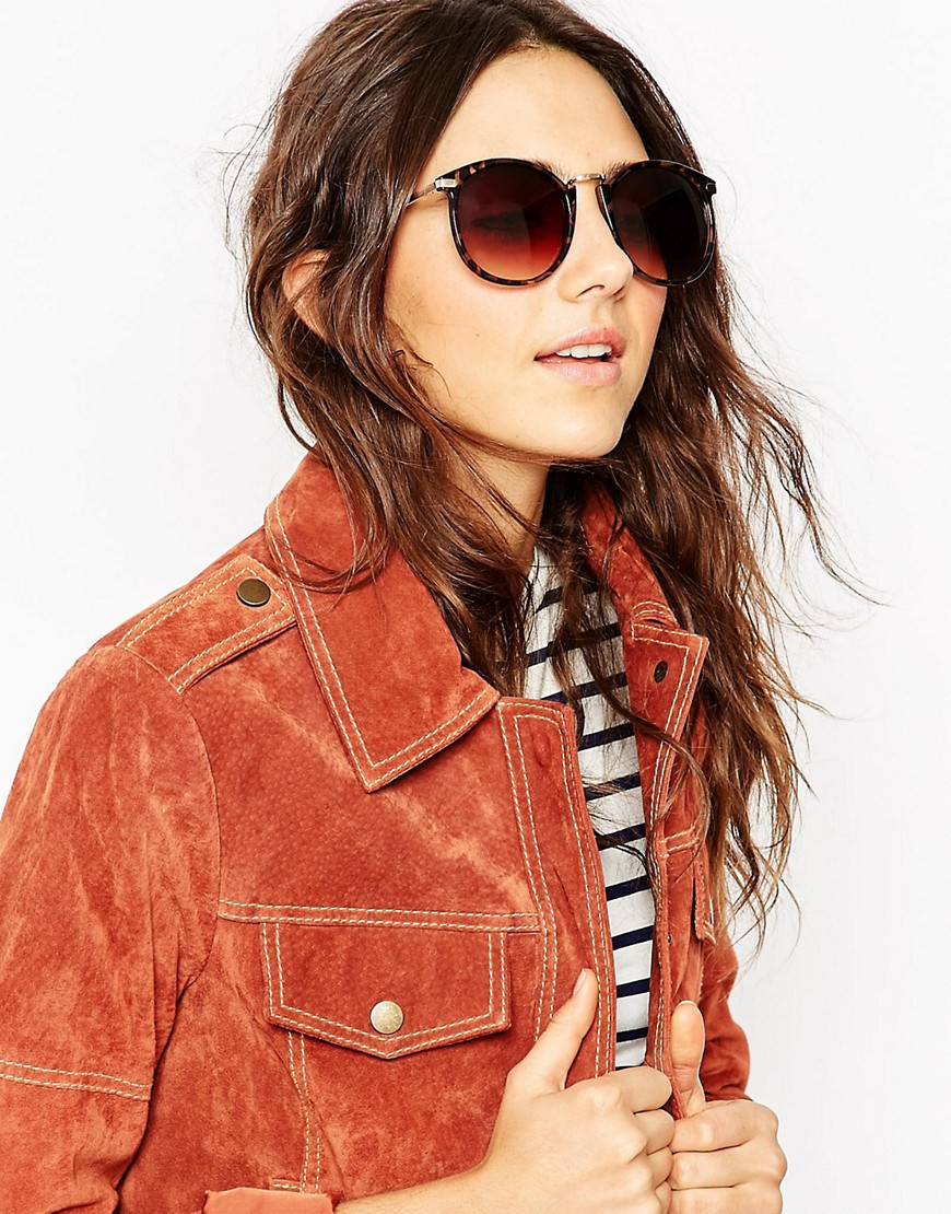 Image 1 ofASOS Oversized Round Sunglasses With Metal Nose Bridge