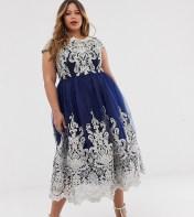 Chi Chi London Plus Chi Chi London Plus Premium Metallic Lace Midi Prom Dress with Bardot Neck - Navy 2018