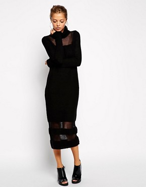 Image 4 ofASOS Jumper Dress With Roll Neck And Sheer Inserts