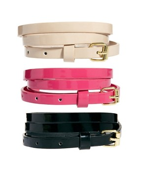 Image 1 of New Look 3 Pack Super Skinny Belts