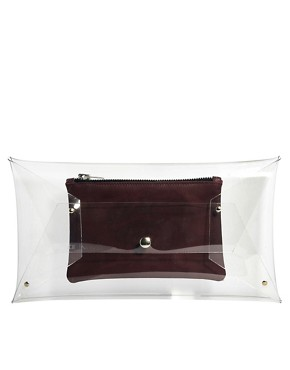 Image 1 of Klear Klutch Large Transparent Clutch Bag with Burgundy Leather Pouch
