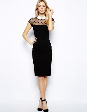 Tempest Nina Dress With Spot Mesh & Contrast Collar