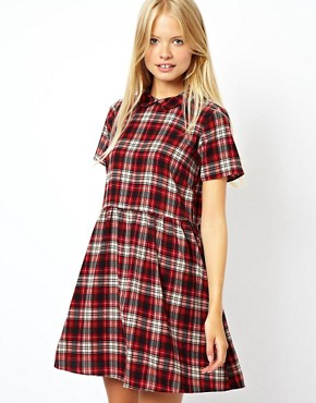 Image 1 of ASOS Smock Dress In Check With Collar