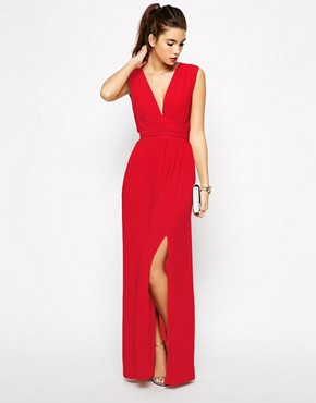Image 1 of Love Plunge Neck Maxi Dress with Wrap Belt