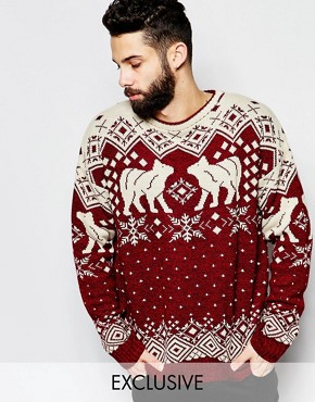 Reclaimed Vintage Christmas Jumper With Nordic Polar Bears
