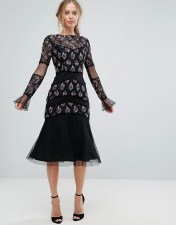Frock and Frill Frock and Frill Midi Dress with Embellishment - Black 2018