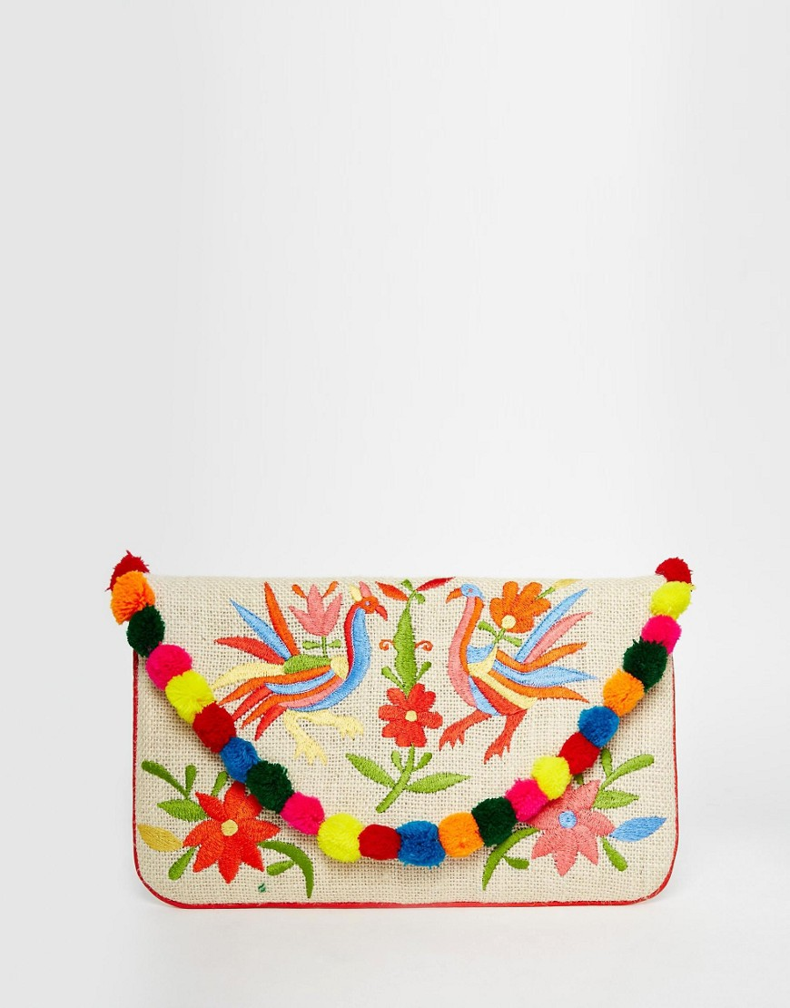 Image 1 of Moyna Embroidered Jute Clutch With Pom Pom Trim
