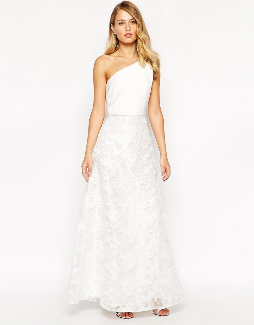 Image 1 - Jarlo - Eva - Maxi robe asymétrique avec jupe en dentelle à fleurs