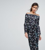 Silver Bloom Silver Bloom Bardot Midi Dress in Ditsy Floral with Exaggerated Sleeve - Multi 2018