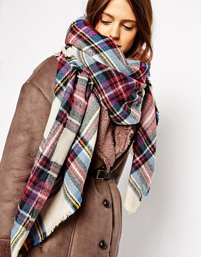 ASOS Oversized Square Scarf In Check
