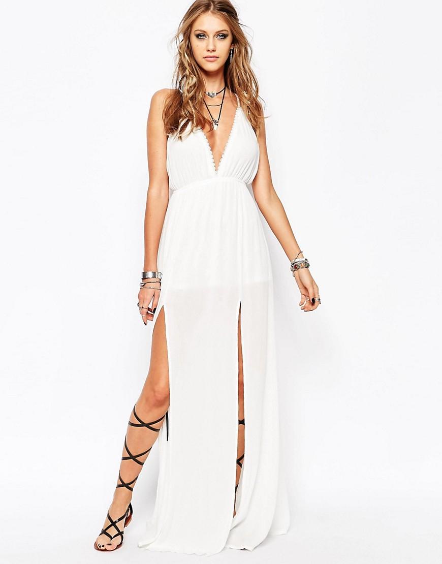 Image 1 ofMissguided White Plunge Split Front Maxi Dress