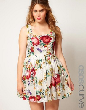 Image 1 of ASOS CURVE Dolly Skater With Floral Embroidery