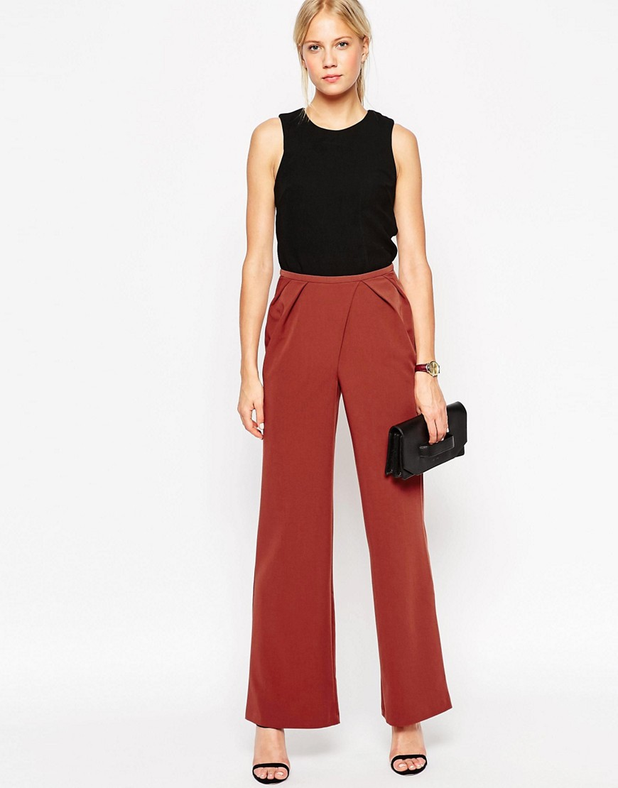 Image 1 of ASOS Woven Wide Leg Trousers with Pleated Waist