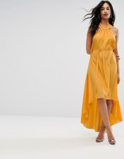 AQ AQ AQ/AQ Halterneck Maxi Dress With Hardware Detail - Yellow 2018