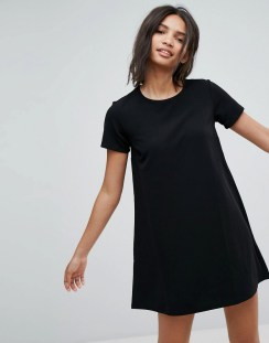 Stradivarius Short Sleeve Shift Dress - Black