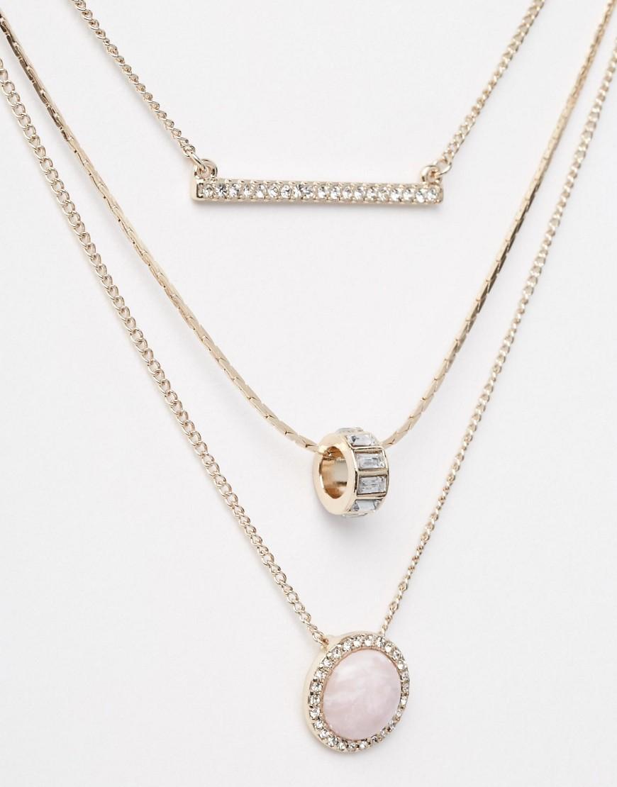 Bild 2 von Oasis – Mehrreihige Halskette mit Pavé-, Stab- und Quarzanhänger