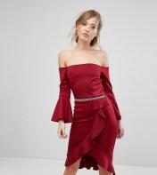Silver Bloom Silver Bloom Scuba Frilled Bodycon Midi Dress - Red 2018