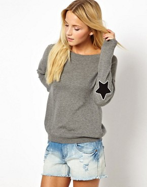 Image 1 of ASOS Jumper With Star Elbow Patch