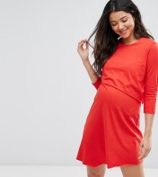 ASOS Maternity - Nursing ASOS Maternity NURSING 3/4 Sleeve Asymmetric Dress with Double Layer - Red 2018
