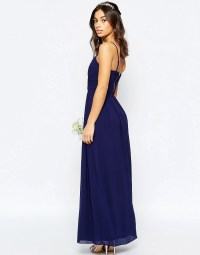 Bandeau Chiffon Maxi Dress by TFNC Petite WEDDING - Navy