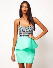 Aqua April Digital Print Structured Peplum Mini Dress