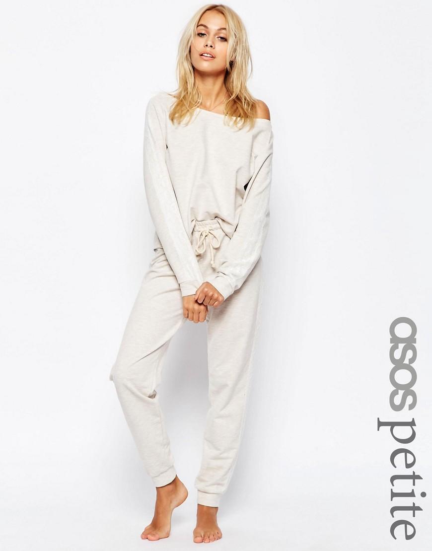 Image 1 - ASOS PETITE LOUNGE - Pantalon de survêtement en jersey - Grège chiné